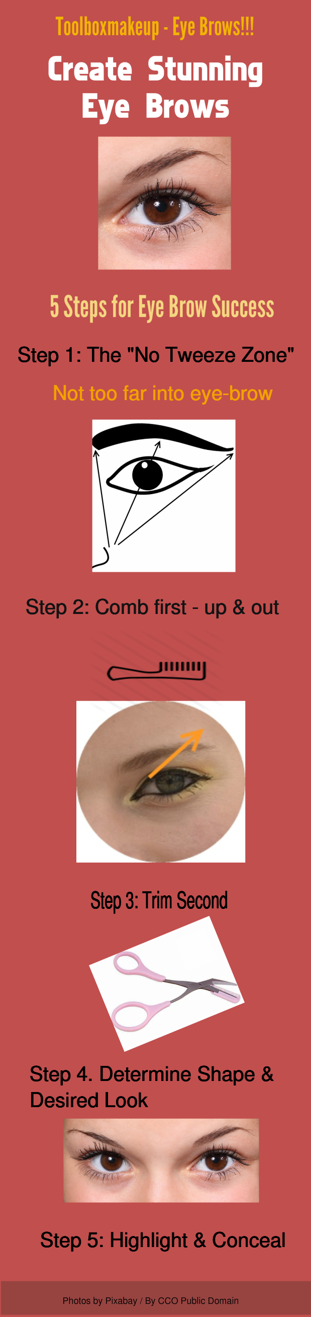 steps to creating beautiful eye brows for women infographic
